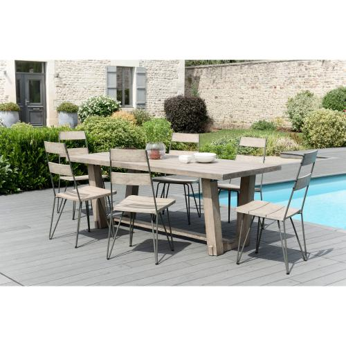 3 SUISSES - Ensemble table rectangulaire + 6 chaises avec pieds épingle en teck massif - Ensemble table, chaise