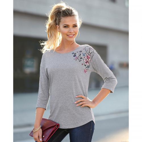 3 SUISSES - Tee-shirt manches 3 4 imprimé floral sur épaule femme  Exclusivité 7c696f1808a