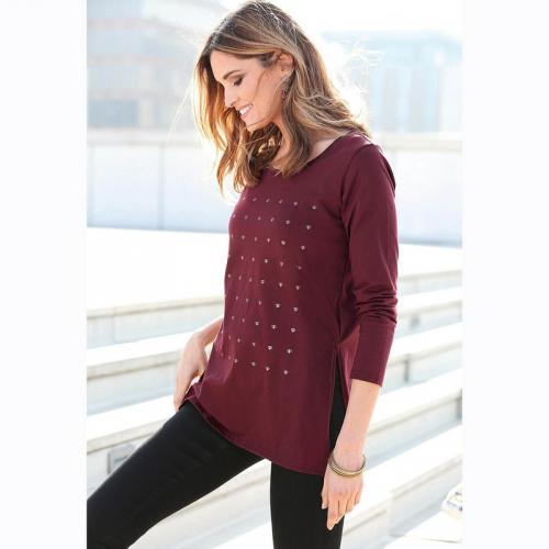 3 Suisses - Tee-shirt long manches longues fendu femme Exclusivité 3SUISSES  - Lie De eabf0186607e