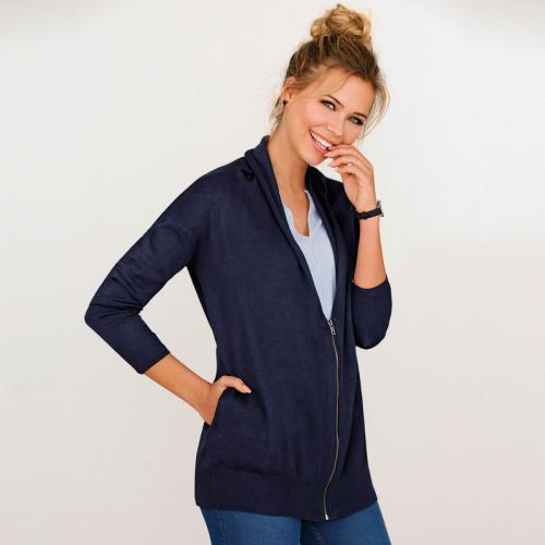 4f6338e3069b 3 SUISSES - Gilet zippé manches longues et poches femme - Bleu - Gilets col  V