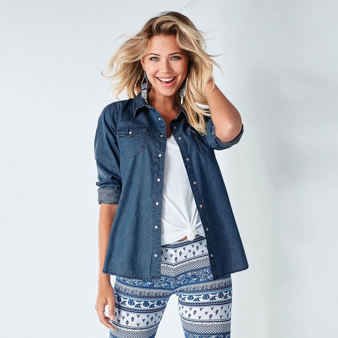 Chemise en jean à pressions manches longues - 3 SUISSES - Modalova