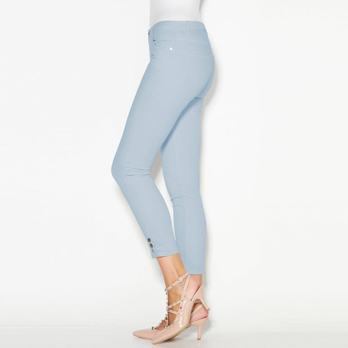 b0507bf4804e Pantalon skinny 5 poches pressions sur bas femme Exclusivité 3SUISSES - Bleu  3 SUISSES Femme