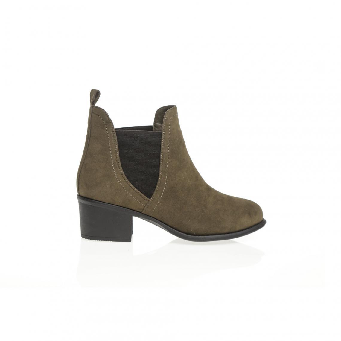 65c4d83ce19d8 Bottines élastiques latéraux femme - Kaki 3 SUISSES Femme Cliquez l image  pour l agrandir. Boots 3 SUISSES