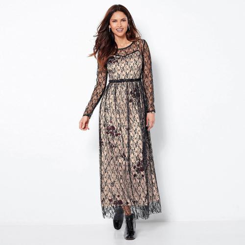 bbd43c5b759 3 SUISSES - Robe longue manches longues en dentelle femme - Noir - Robe  longue
