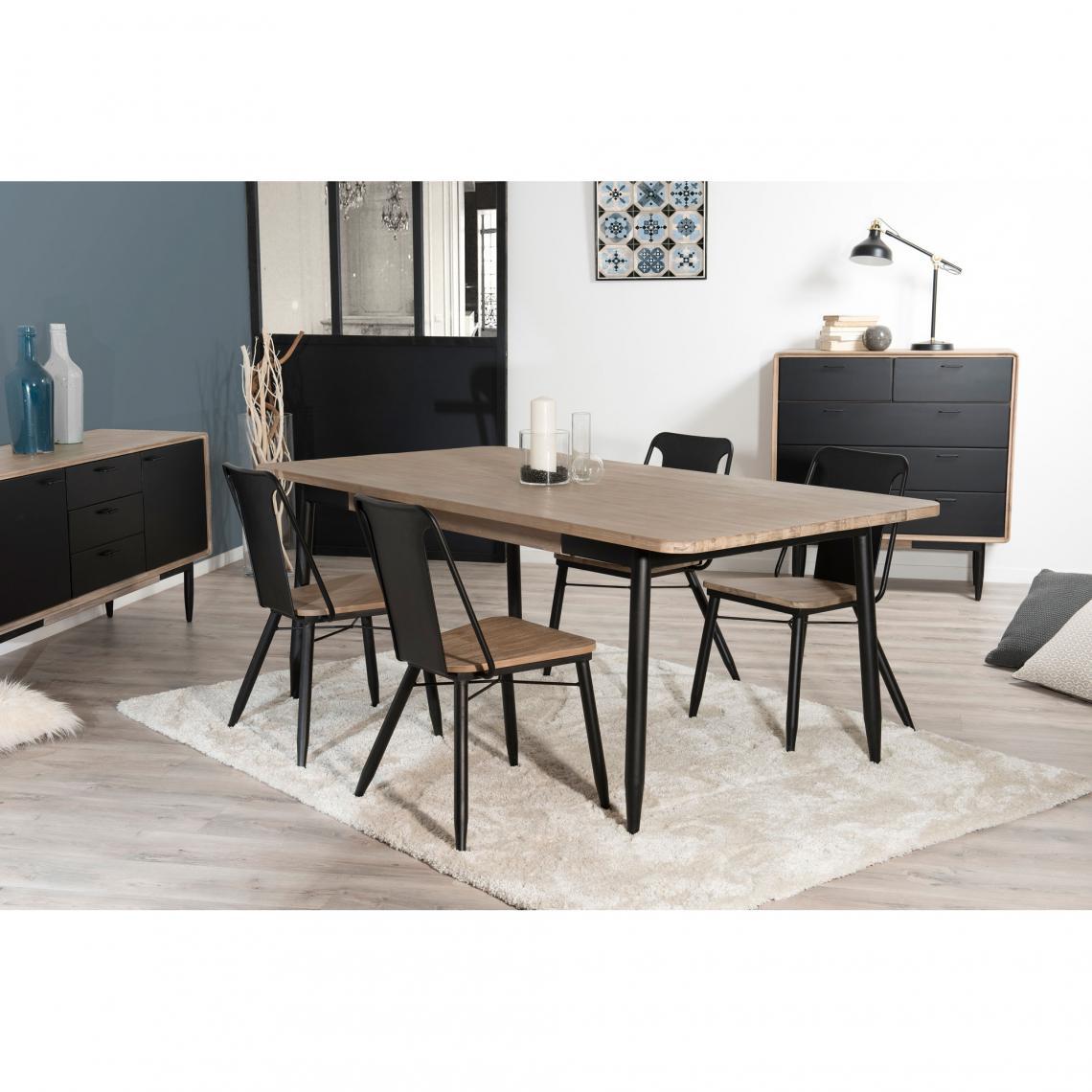 Table à manger rectangulaire 200 x 100 cm esprit atelier - Chêne ...