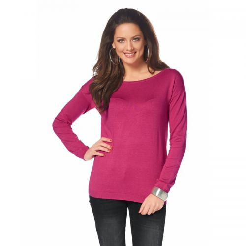 Melrose - Pull manches longues col rond étoiles en strass au dos femme Mel - Rose - Promotions