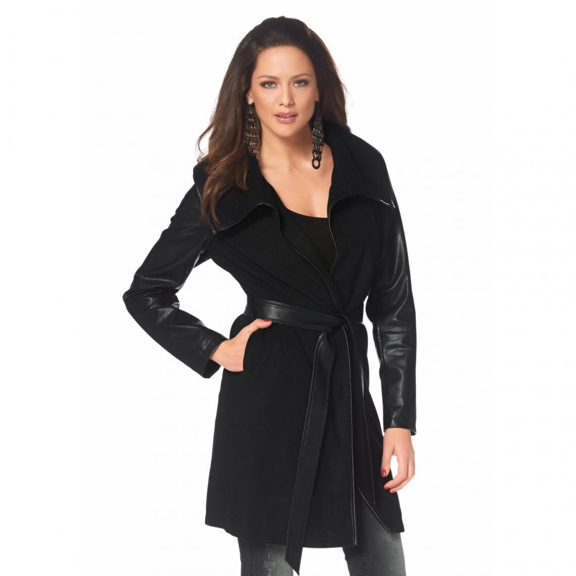 11fd43595 Manteau grand col ceinturé femme Mel - Noir | 3 SUISSES