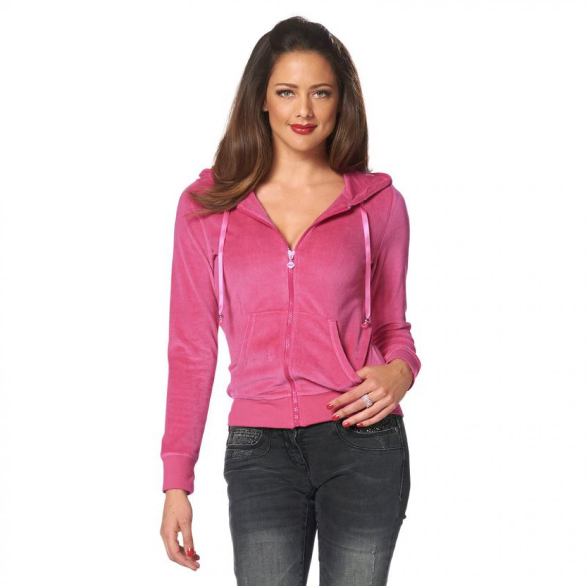 e5eafc249545 Sweat zippé à capuche en velours avec motif ailes en strass femme Mel - Rose  Melrose