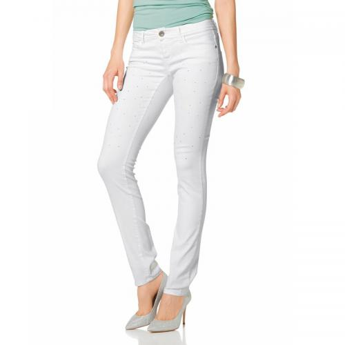 Melrose - Jean coupe cigarette taille basse stretch strass femme Mel - Blanc - Promotions
