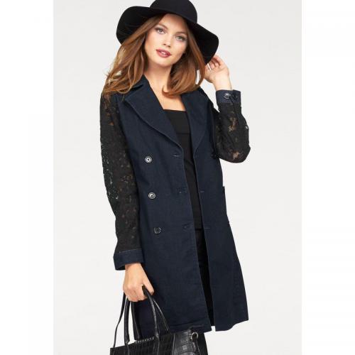20b774aeb3ca Melrose - Trench-coat jean et dentelle femme Mel - Bleu - Manteaux femme