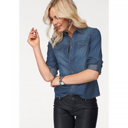 Melrose - Chemise jean avec strass femme Melrose - Bleu Used - Melrose d30196e7c6f6