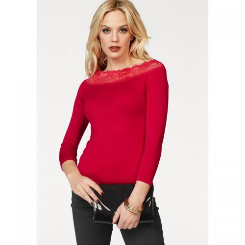 Melrose - Tee-shirt haut dentelle manches ¾ femme Melrose - Rouge - Promotions
