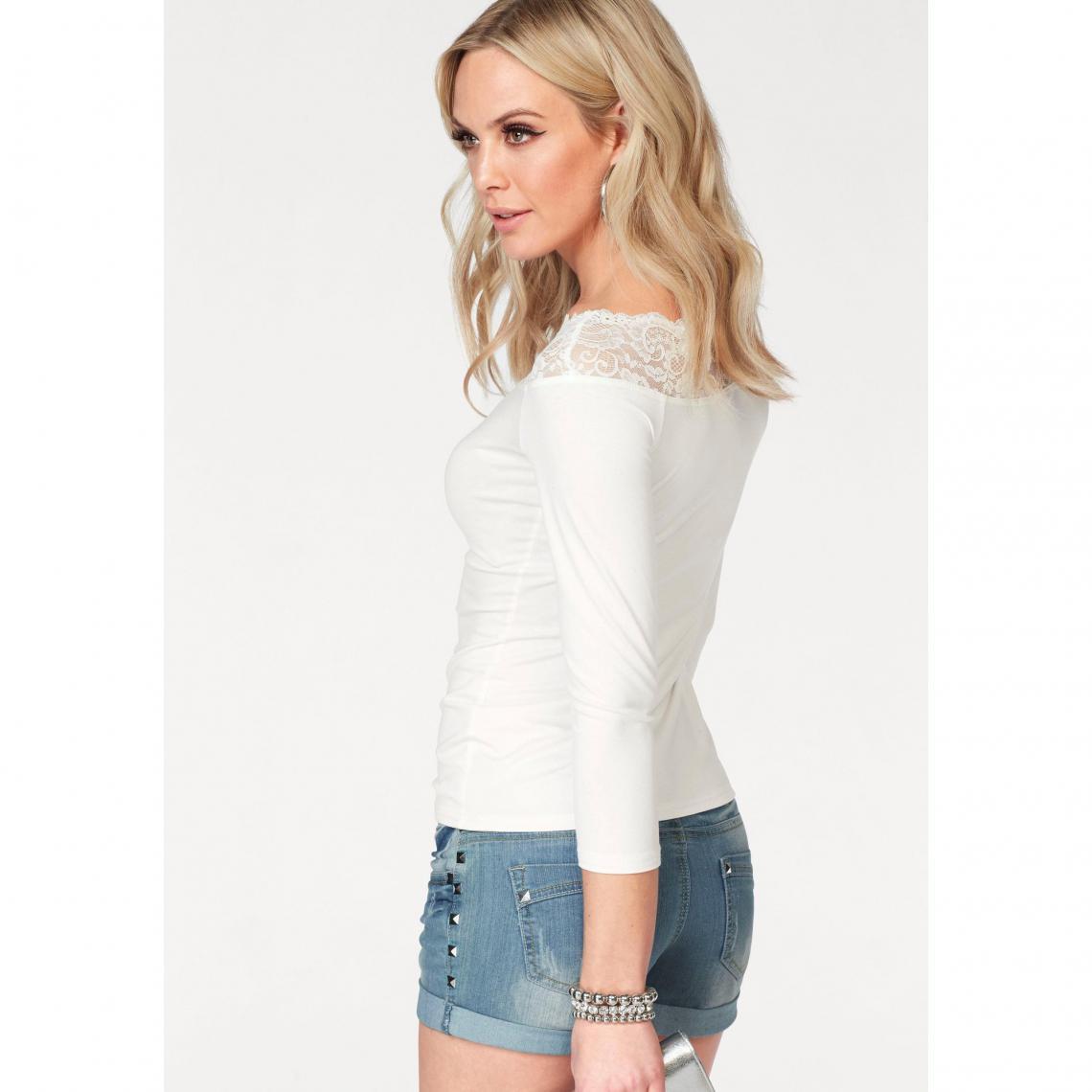 63ffcb9b0c6 Tee-shirt haut dentelle manches ¾ femme Melrose - Blanc