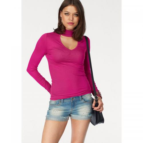Melrose - Tee-shirt uni col montant manches longues femme Melrose - Rose Vif - Promotions
