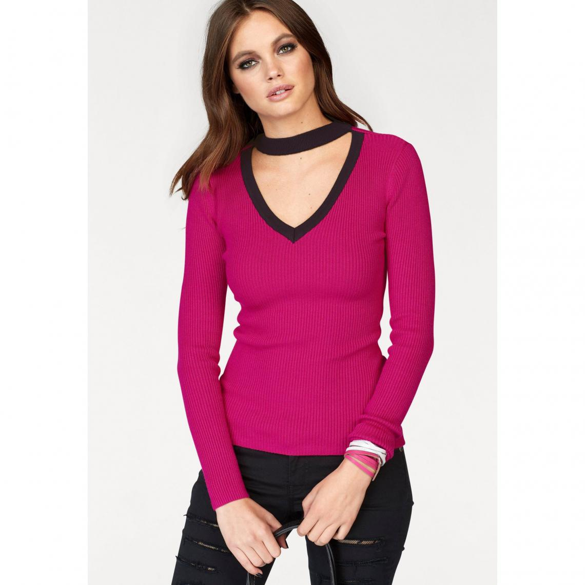 5ea17fdf21 Pull col V fantaisie manches longues femme Melrose - Rose Vif | 3 ...