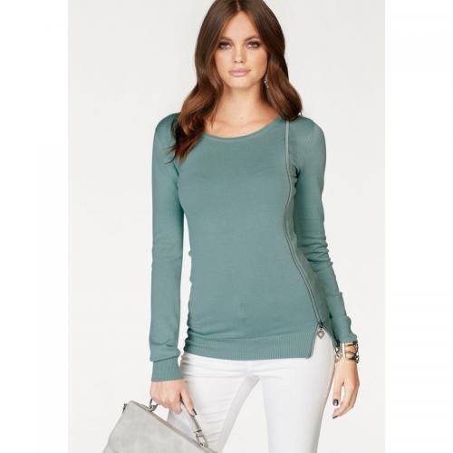 Melrose - Pull avec zip col rond manches longues femme Melrose - Bleu - Edition Brit Chic