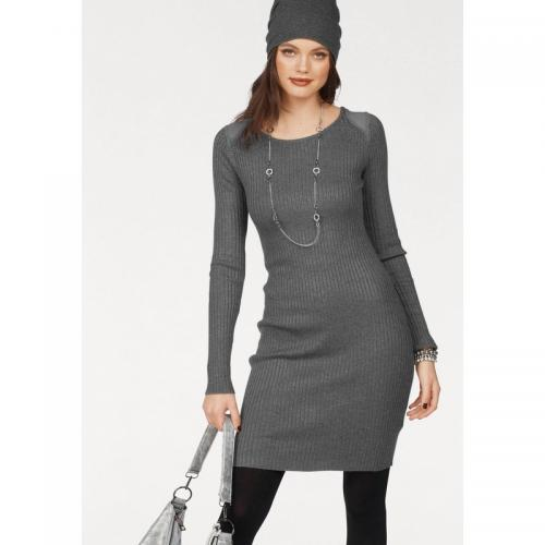 Melrose - Robe strass manches longues en maille femme Melrose - Gris Moyen Chiné - Robe