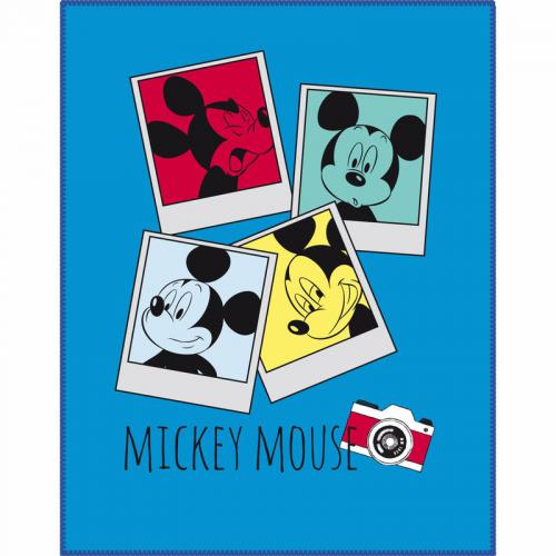Mickey - Plaid polaire Mickey Photomaton - Bleu - Linge de maison