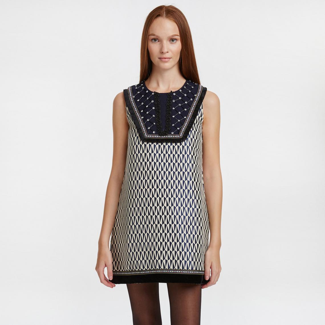 d10d1daf6e Robe housse imprimé géométrique à plastron perlé femme Molly Bracken - Bleu