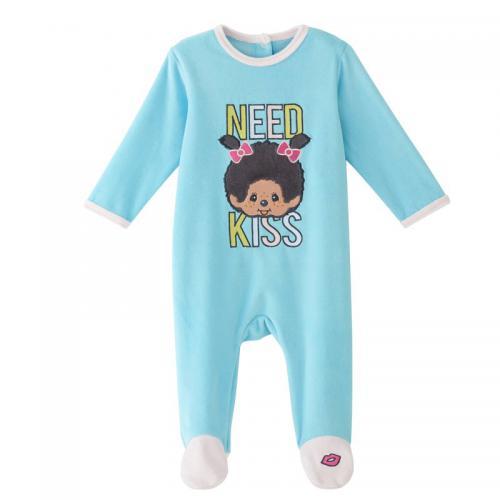 611463ba49199 Monchhichi - Dors bien velours bébé fille Monchhichi - Bleu - Pyjama