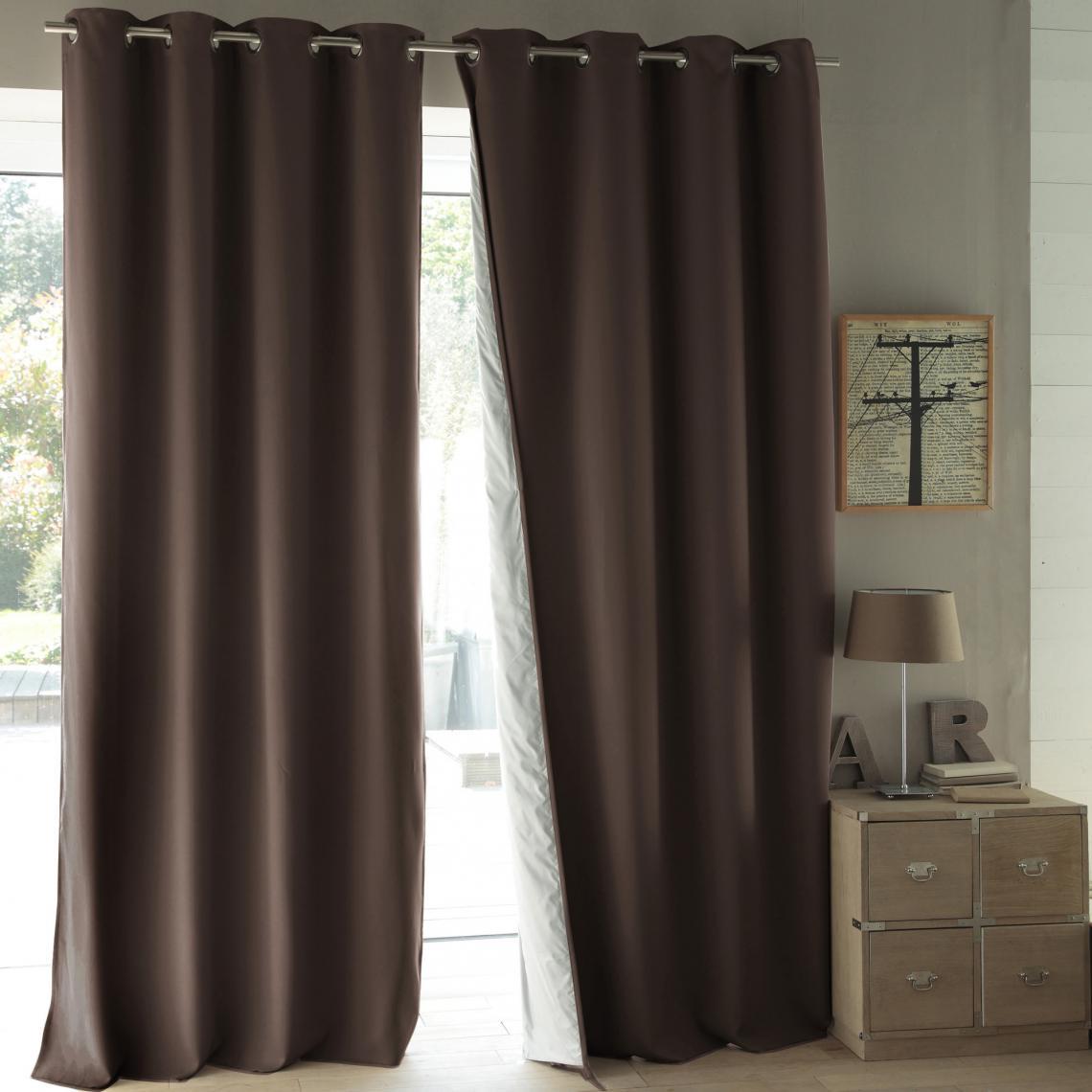 rideau occultant thermique oeillets moondream marron 3 suisses. Black Bedroom Furniture Sets. Home Design Ideas
