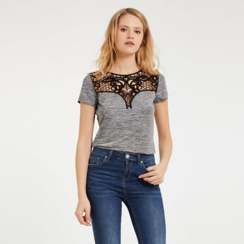 Morgan - Tee-shirt col dentelle ajouré femme Morgan - Gris - Morgan 165bab8a969