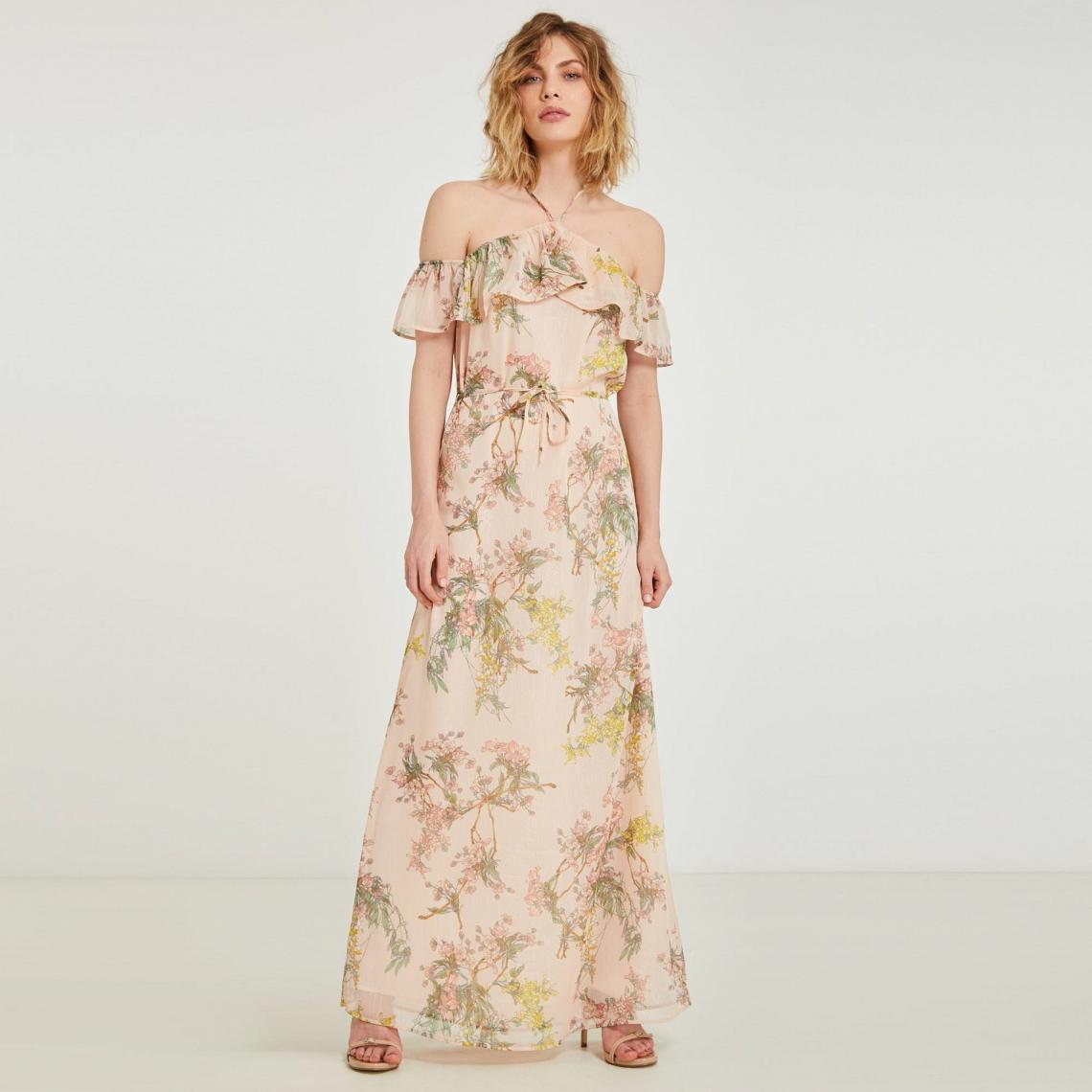 581498c8ba15b Robe longue imprimée encolure volantée femme Morgan - Rose Morgan Femme