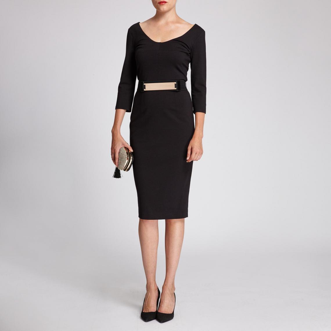 c0acdda53a1 Robe fourreau plaque dorée - Noir Morgan Femme