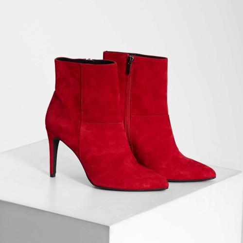 f02c02c6c328f Morgan - Bottines en cuir à talon fin Morgan - Rouge - Chaussures femme
