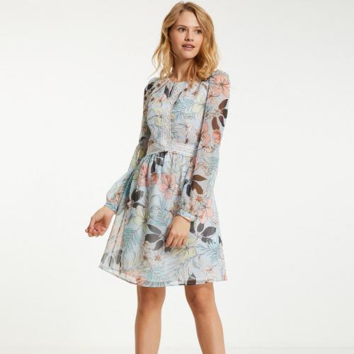 f1564636430 Morgan - Robe fleurie détail brodé ajouré femme Morgan - Bleu - Robes femme
