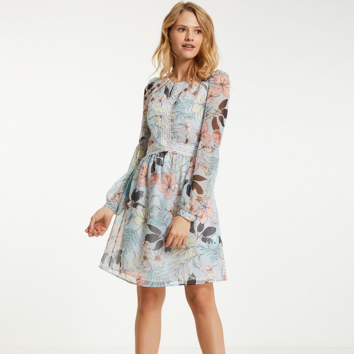 62b10a0ac4a Robe fleurie détail brodé ajouré femme Morgan - Bleu Morgan Femme