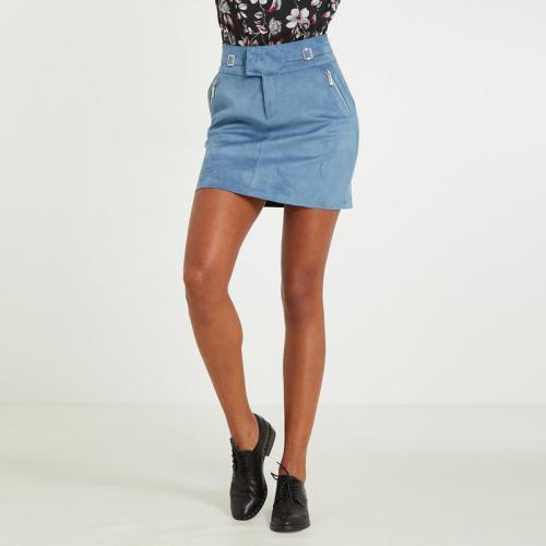 Morgan - Mini jupe trapèze en suédine femme Morgan - Bleu - Jupes femme bbed5af42707