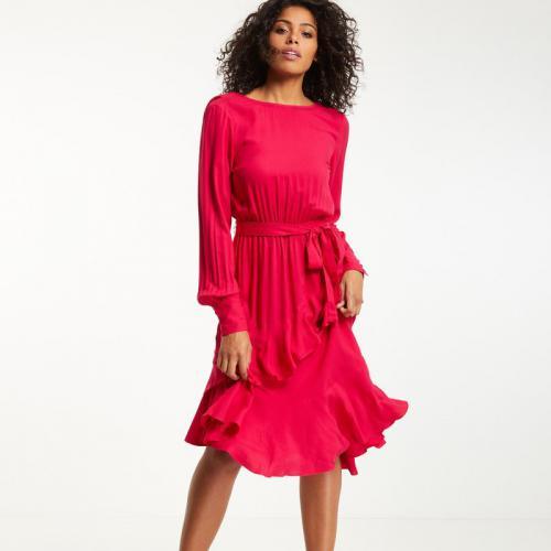 Morgan - Robe mi-longue esprit bohème femme Morgan - Fuchsia - Robes à  volants d22223ff017