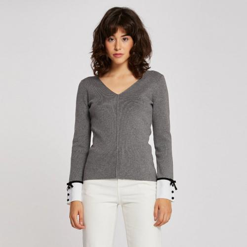 Morgan - Pull col V poignets chemise fantaisie - Gris - Nouveautés Mode  Femme 946d8bb8c22