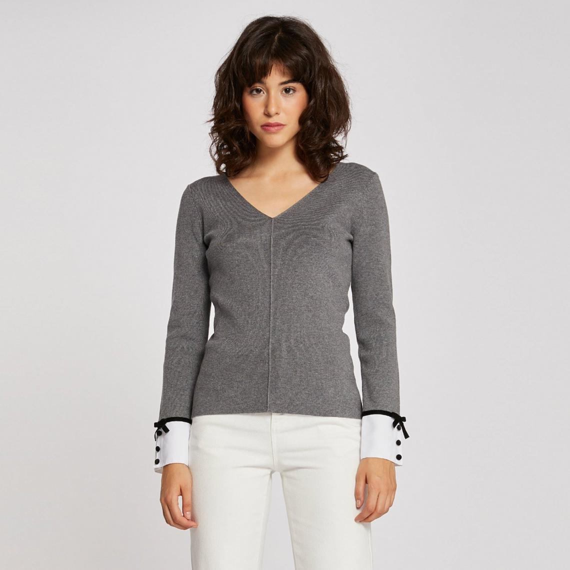 bfcd4accd9aa6 Pull col V poignets chemise fantaisie - Gris Morgan Femme