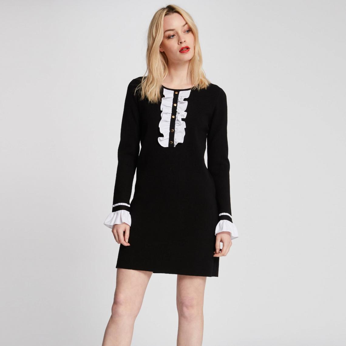 Robe Dorés Avec Boutons 3suisses Et Jabot Noir prTw8Ipq