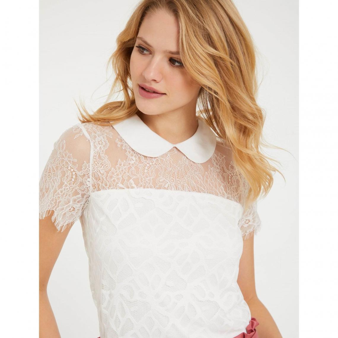 Top en dentelle guipure   col chemise femme Morgan Morgan Femme 7c80f693155