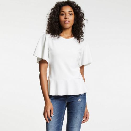 848ff064915 Morgan - T-shirt manches et base volantées femme Morgan - Blanc - Morgan