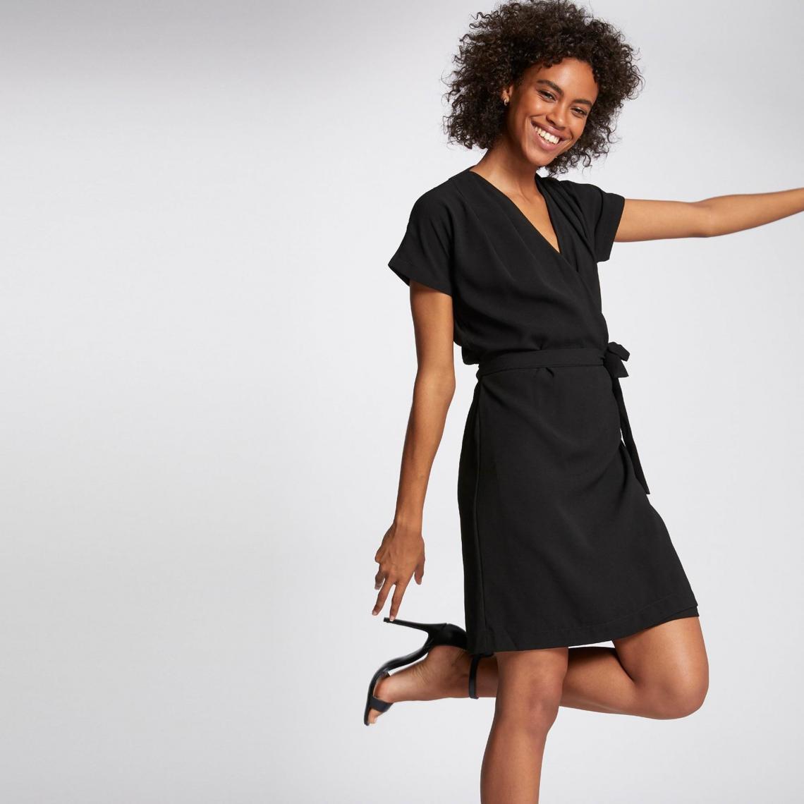 robe portefeuille unie femme morgan noir 3 suisses. Black Bedroom Furniture Sets. Home Design Ideas