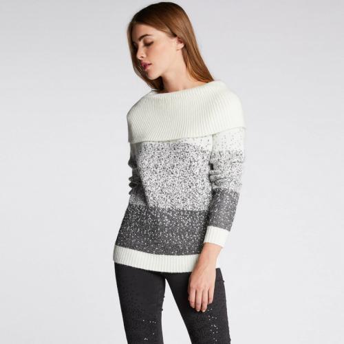 Morgan - Pull en maille métallisée col Bardot - écru - Nouveautés Mode Femme 32f2ad488f1
