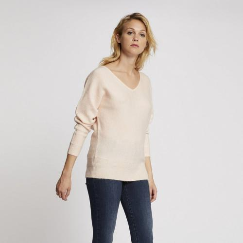 Morgan - Pull fin dos fantaisie - Rose - Promos vêtements femme Rose