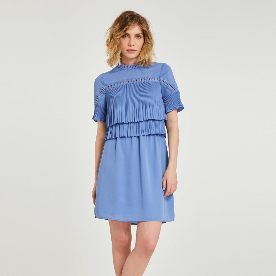 Robe Courte Unie Avec Volants Plisses Femme Morgan Bleu 3 Suisses