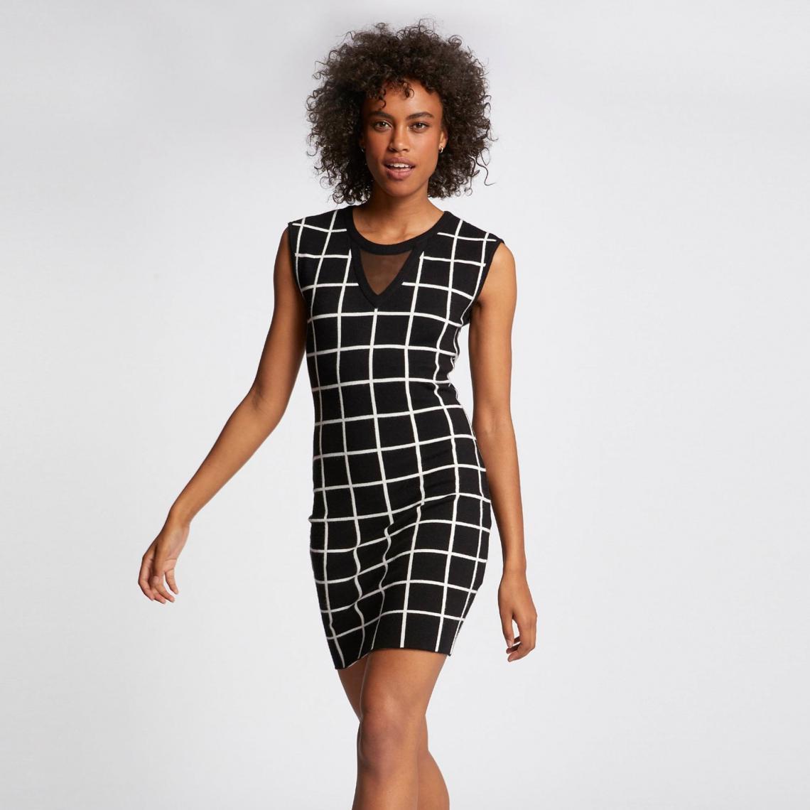 Robe maille courte à carreaux - Noir Morgan Femme 9ec4f9219