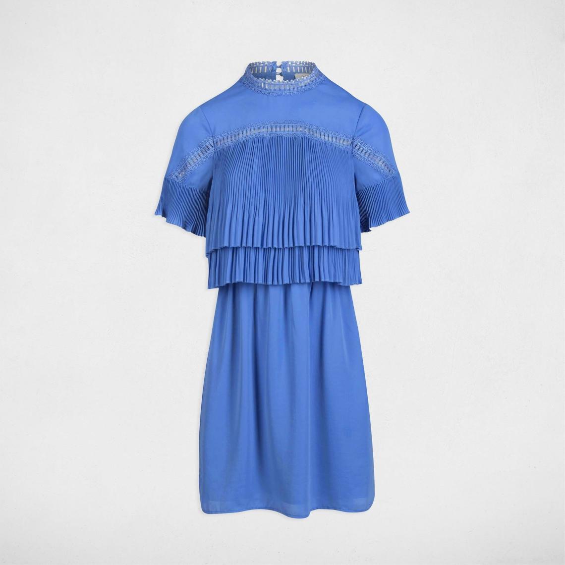 Plissés Volants Avec Morgan Suisses Femme Robe Unie 3 Bleu Courte 4qIqZ1