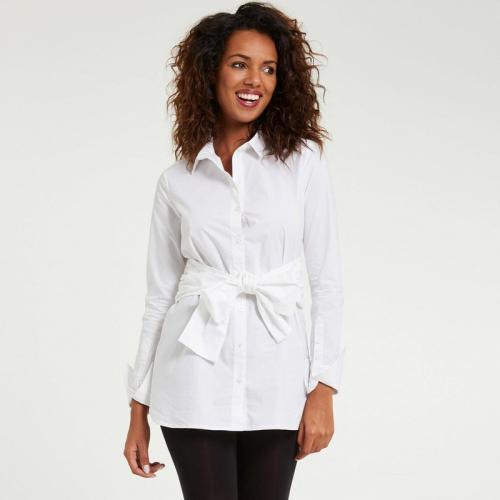 5da5ce5aff3 Morgan - Chemise longue en popeline à noeud femme Morgan - Blanc - Blouses  femme