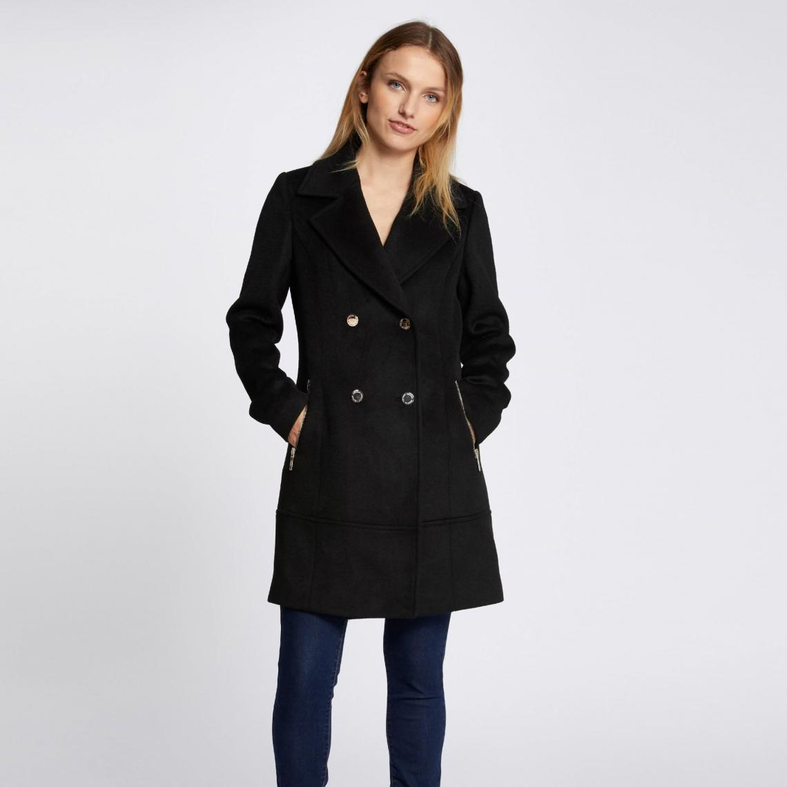manteau long cintr double boutonnage femme morgan noir. Black Bedroom Furniture Sets. Home Design Ideas