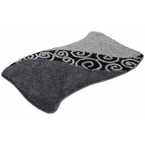 my home - Tapis de bain rectangulaire à motifs esprit arabesque (1700 gm²) My Home - Gris - Linge de maison
