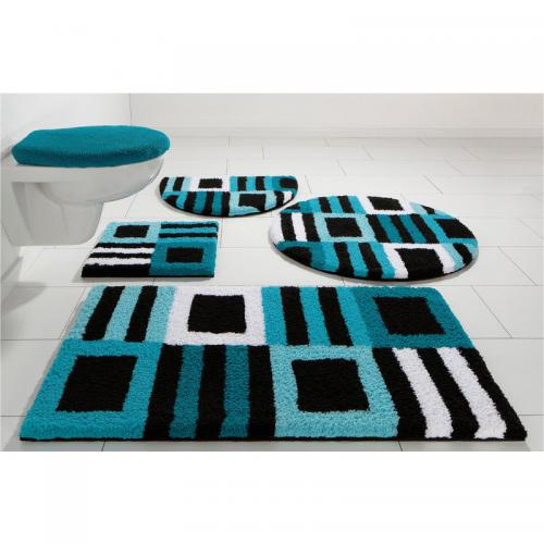 my home - Tapis de bain graphique 1600gm² Chiara My Home - Bleu - Linge de maison