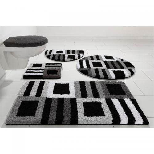 my home - Tapis de bain graphique 1600gm² Chiara My Home - Gris - Linge de maison