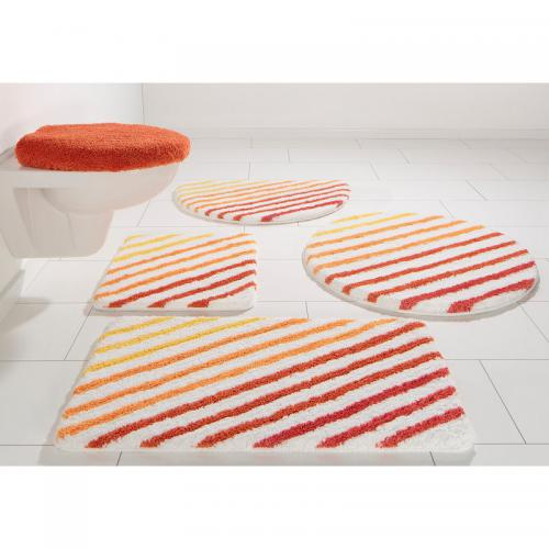 my home - Tapis de bain microfibre motif rayures My Home - Orange - My Home